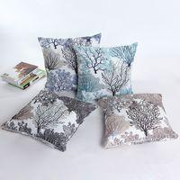 Wholesale Flower Pillow Pattern - Fashion Firework Pattern Bamboo Linen Fabric Throw Pillow Case Silver Flower Cushions Car Sofa Pillow Covers 18x18''(45*45cm)
