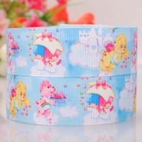 "Wholesale Grosgrain Ribbon Stars - 1""(25mm ) care bear and Little twin star printed cartoon tape DIY handmade hairbow grosgrain ribbon free shipping"