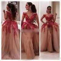 760c71179a965 Myriam Fares Dresses 2015 celebrità abiti palla abito a maniche corte con  scollo a V in pizzo rosso con paillettes Nude Tulle donne arabe Prom  Dresses sera ...