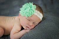 Wholesale Baby Flower Headband Chiffon Shabby - Baby Lace Headbands With Shabby Chiffon Flower Kids Elastic Hairbands Hair Accessories Infant Hair band Girl Christmas Headwear