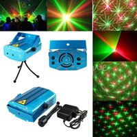 Mini rojo verde Moving Party Stage LED láser de luz Proyector telón de fondo con trípode láser DJ Party disco luz 150mW 110-240V