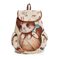 Wholesale Cute Large Bag - hot Cute Cartoon Cat Print School Backpack For Teenager Large Capacity Canvas School Bag Girls Drawstring Backpack Female
