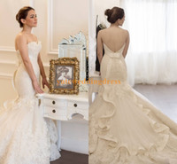 Wholesale Mermaid Feather Sweetheart Wedding Dress - New Designer Vintage Wedding Dresses Off The Shoulder Strapless Court Train 2015 Wedding Dress Organza Ruffle Lace Appliques Bow Bridal Gown