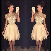 c6ea68bcf9b39 Wholesale beautiful maternity dresses short resale online - Beautiful Beads  Sheer Short Gold Prom Dress cheap