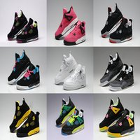Wholesale Purple Military Boots - 2016 air Retro 4 Basketball Shoes Fire Red White Cement CAVS Military Blue Cement Grey Black Cat Pure Mars Thunder Trainers Boots Sneakers