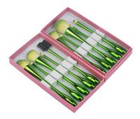 kleine make-up pinsel-sets großhandel-Prinzessin Rose Green Kleine Taille Make-up Pinsel Wassertropfen 10pcs Make Up Pinsel Set Kosmetik Pinsel Werkzeuge Kit