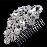 Wholesale Large Rhinestone Comb - 4.4 Inch Big Elegant Large Crystal Rhinestone Flower Bridal Hair Comb Lady Wedding Hair Jewelry H015