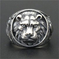 Wholesale Stainless Ring Lion - 1pc Free Shipping New Arrival Lion King Ring 316L Stainless Steel Man Boy Fashion Personal Design Cool Animal King Ring