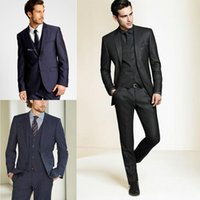 Wholesale Long Dress Jackets For Men - 2015 New Formal Tuxedos Suits Men Wedding Suit Slim Fit Business Groom Suit Set S-4 XL Dress Suits Tuxedo For Men (Jacket+Pants+Vest+Tie)