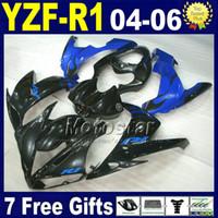 carrinhos de corpo de motocicleta yamaha venda por atacado-Kit de injecção para 04 05 06 YAMAHA yzf kit de carenagem R1 preto motocicleta azul B69N 2004 2005 2006 r1 carenagens carroçaria