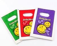 ingrosso sacchetti di regalo in plastica viola-Hotl! Gioielli Pouch.100 Pcs Viola rosso verde Carino smiley Sacchetti di plastica Sacchetto del regalo dei monili 9x15 cm