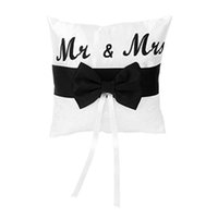 2017newMr Mrs Satin Ribbon Bow Bowknot Cuscino Anello di nozze Cuscino Cuscino Cuscino centrotavola Romantic Love Party Decor