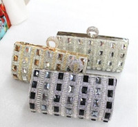 Wholesale Cheap Gold Wedding Clutch Bags - New Fashion Women's Luxurious Bling Bridal Handbags Evening Bag Silver Floral Party Prom Gold Black Cheap Wedding Bags
