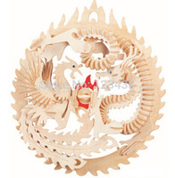 Wholesale Wood Dragon Puzzle - Wholesale-Educational Toys Dragon and Phoenix Wooden Miniature Model Assembling DIY 3d Puzzle
