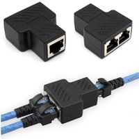 Wholesale High Quality Patch Cables - High Quality Black RJ45 Coupler Splitter Adapter 1 to 2 Dual Female LAN Port CAT 5 CAT 6 Ethernet Convertor