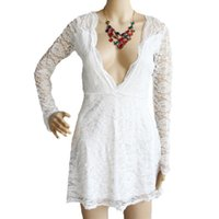 Wholesale New Sexy See Through Dresses - New Arrival White Sexy Womens Long Sleeve Hollow Out See-through Lace Deep V Neck Mini Short Dress Vestido de Festa Renda