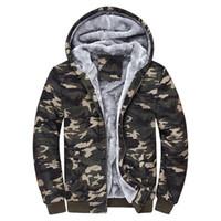 Wholesale Thick Warm Fleeces Mens - Men's Hoodies Sweatshirts Fashion camouflage mens plus velvet hooded Hoodies thick warm fleece winter camo outerwear Plus Size M-4XL