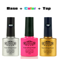 Wholesale Big Top Promotions - Wholesale-Big Promotion 50% off gel nail Polish kit gel polish Candy color Soak Off UV Nail Gel+ Base Coat +Top Coat 10ML