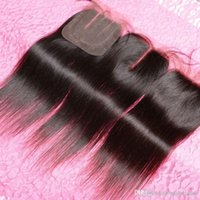 Wholesale Hand Tied Hair Weft Straight - Queen 100% Hand Tied Lace Straight Lace Medium Brown 4*4inches Brazilian Lace for 1 piece