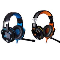 Wholesale Games Mic - Blue Orange EACH G2000 Over-ear Game Gaming Headphone Headset Earphone Headband with Mic Stereo Bass LED Light for PC Game