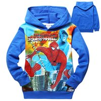 Wholesale 60pcs AAA quality cotton kid girl boy spiderman sweatshirts color size print hoodies coat jacket outwear christmas gift top
