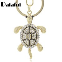 Wholesale Tortoise Rhinestone Keychains - beijia Lovely Turtle Tortoise Keyrings Keychains Crystal Bag Pendant Key Chains Holder Rings For Car K316