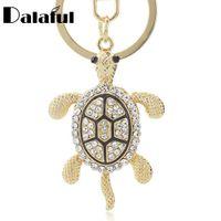 Wholesale Tortoise Crystal Pendant - beijia Lovely Turtle Tortoise Keyrings Keychains Crystal Bag Pendant Key Chains Holder Rings For Car K316