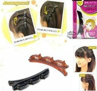 Wholesale Pvc Engagement - 3 Pcs Lot Brown Black Color PVC Doule Level Bow Twist Hair Clips Christmas Bows With Clip Girl Hairpins Hair Pin Accessories