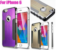 Wholesale Brushes Steel Iphone Case - Luxury Blade Runner Style Aluminum Metal Brushed Metal Steel Chrome Hard Case Cover For iPhone 4 4S 5 5S 6 4.7 inch 10pcs lot