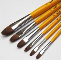Wholesale Old Hair Brush - 6 pcs Hoarse&Weasel Hair Painting Brush Set Watercolor Gouache Acrylic Paint Art