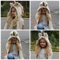 Wholesale Skull Scarves Tassel - kids Unicorn scarf cap 2 in 1 Kids Infant Warm Knitted Hats warmer Winter Beanie Hat Tassels cap YYA851