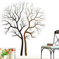 yatak odası duvar kağıdı toptan satış-İki Çıplak Ağaçlar Duvar Sanat Mural Decal Sticker Oturma Odası Yatak Odası Arka Plan Loving Ağacı Duvar Dekor Poster 85x100 CM