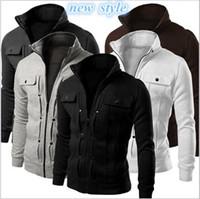 Wholesale Gray Wool Jacket High Collar - New Autumn Mens Fashion Slim Fit Hoodies Zipper Stand Collar Sweatshirt Sportswear Male Casual Jacket Coat High Quality free shipping