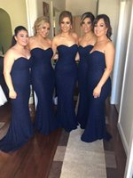 Wholesale line mermaid strapless wedding dresses for sale - Group buy Davy Blue Long Lace Mermaid Bridesmaid Dresses Strapless Prom Evening Dresses Wedding Party Dress Custom Made
