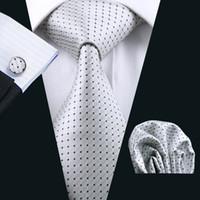 Wholesale Men Business Suit Wool - White Suit Necktie Pocket Square Cufflinks Set Jacquard Woven Business Formal Necktie 8.5cm Width Casual Set N-0431