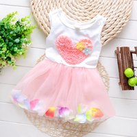 Wholesale Purple Heart Clothes - Summer kids clothes lace heart sleeveless colour petal princess dresses Baby Tutu Dresses Sleeveless Bowknot Kids Vest Princess Dress