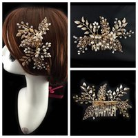 Wholesale Elegant Wear For Ladies - Crystal Pearls Beaded Bridal Comb Elegant Bride's Hair Pieces Gold Decoration 2016 Top Sale Online Head Wear Evening Prom Party For Ladies