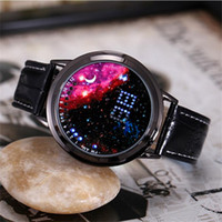Luxury LED Touch Screen Relojes Hombres Mujeres Unisex Creativo Starry Star Moon Reloj de pulsera Impermeable Cinturón Reloj Personalidad Creativa