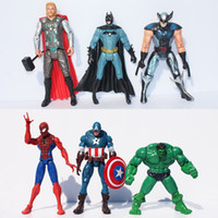 ingrosso giocattoli di gomma del batman-The Avengers Captain America Spiderman Thor Batman Hulk Wolverine Action Figure Toy PVC Figure 15cm
