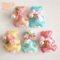 Lovely Bears Glitter Felt Hair Clips With Beads Cute Shinning Animals Избранные шпильки с Apple Charms Kids Hair Clips New