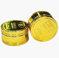 ingrosso base di zinco-Smerigliatrici per tabacco Herb Gold a base di erbe in lega di zinco metallo per smerigliatrice secca a base di tabacco 3 parti, 50mm