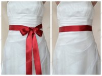 Wholesale Double Bow Belt - Red Double faced Satin Ribbon Wedding Dress Sash Belt