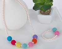Wholesale Candy Color Bead Necklaces - Girls sweater chain Necklace Bracelets Ornaments Color bead candy colo rainbow Pearl Ornament 30pc=15pc Bracelet + 15 Necklace J3402