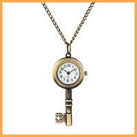 colar de relógio chave venda por atacado-Atacado 100 pçs / lote chave de bolso pingente de ouro com corrente de bolso antigo fob relógios PW014