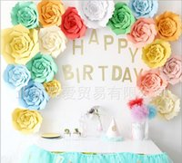 Wholesale Wall Paper Mirror - Popular 2pcs 20cm DIY Paper Flowers Kids Birthday Party Backdrop Decor Wedding Party Hen Party Home Room Decor Supplies