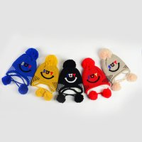 2017 neue winter plus samt kinder stricken hut Koreanische smiley ohr baby jungen wollmütze kinder hut