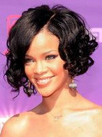 Wholesale Remy Water Wave Wigs - Rihanna Meidum Water Wave Curly Human Hair Lace Front Wig Full Lace Wig Bella Hair Free Shipping