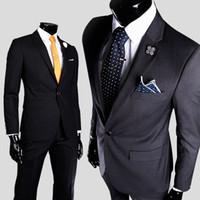 en iyi erkekler resmi takım elbiseleri toptan satış-Toptan-Boyut M-3XL Denim Iş Resmi Erkek Takım Elbise Blazer Damat Smokin En İyi Adam Suit Düğün Sağdıç Ceketler pantolon dahil değildir