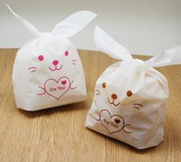 Wholesale Birthday Party Brown Pink - Wholesale-Free shipping pink brown rabbit ear lunch bags gift packaging bag FOR YOU decoration birthday wedding party candy packing favors