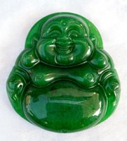 Wholesale Smiling Buddha Pendant - Green Dry Green Citroen raw jade pendant male and female models smiling Buddha pendant Cai Yu brand